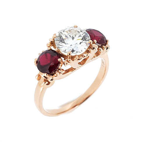 Moissanite ruby ring 2.4ctw
