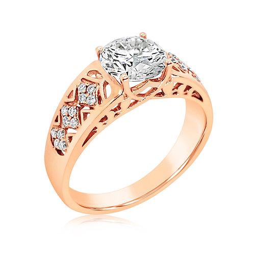 Moissanite 18K Rose Gold Ring 1.1ctw