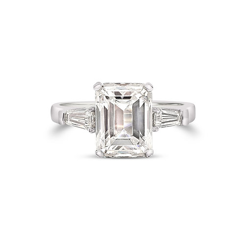 Emerald cut Moissanite Ring 2.8ctw