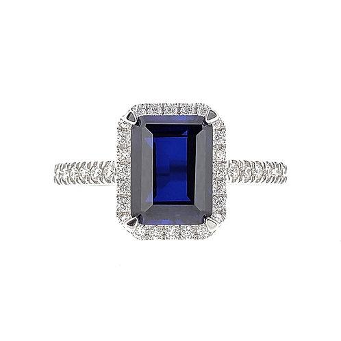 Emerald cut lab-grown Sapphire ring 2.3ctw