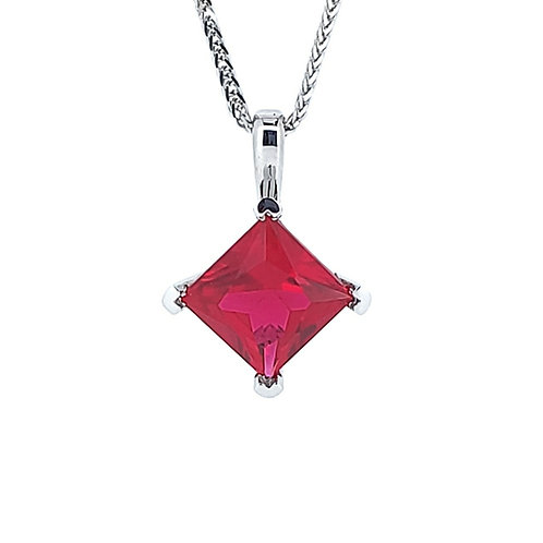Princess cut lab-grown ruby necklace 1.4cts