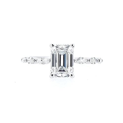 Emerald-shaped moissanite ring 1.4ctw