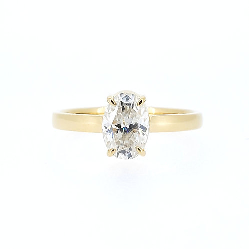 Oval Moissanite Gold Ring 0.8ct