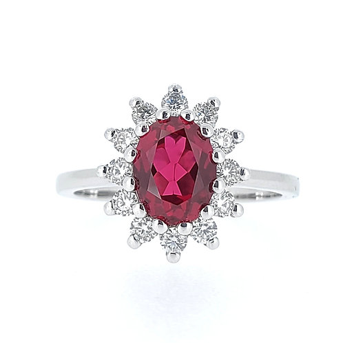 Oval lab-grown Ruby ring 1.8ctw