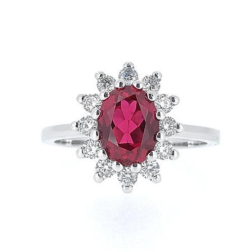 橢圓形培育紅寶石18K戒指(共1.8卡)
