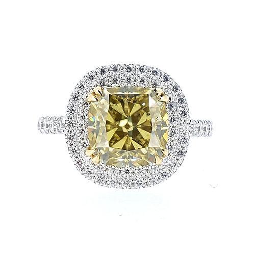 Yellow cushion-shaped moissanite ring 3.4ctw