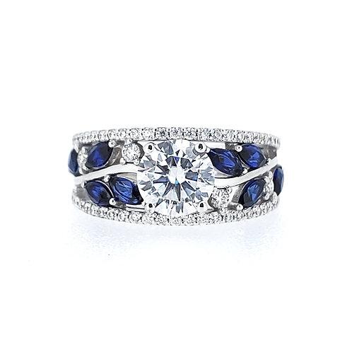莫桑石藍寶石18K戒指(共2.1卡)