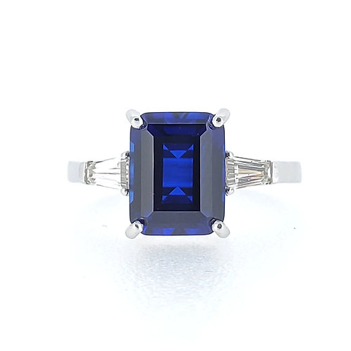 Emerald-shaped lab-grown sapphire ring 3.2ctw
