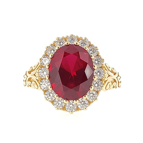 Oval-shaped Lab-grown ruby ring 3.4ctw
