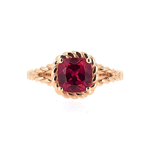 Cushion-shaped Lab-grown ruby ring 1.4cts
