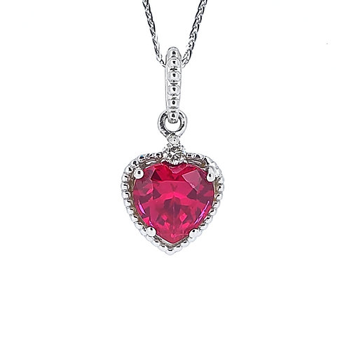 Heart-shaped lab-grown ruby necklace 1.4cts