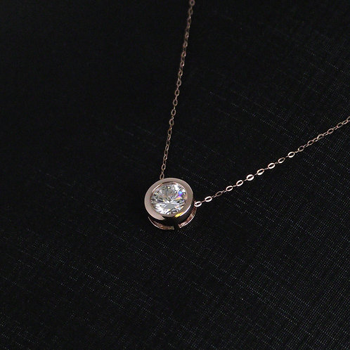 Moissanite Rose Gold Necklace 1ct