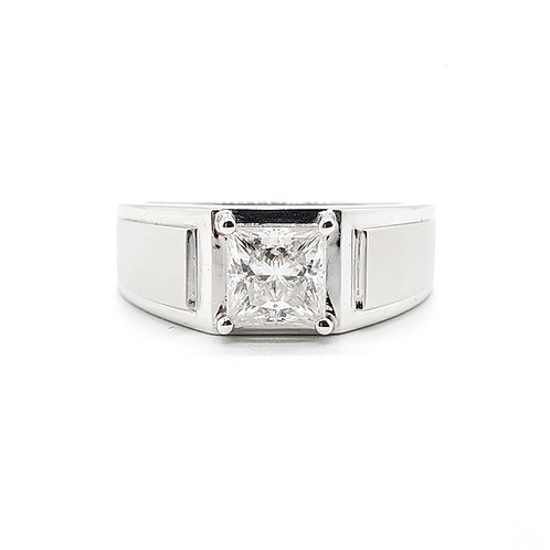 Square Moissanite Men's Ring 1ct