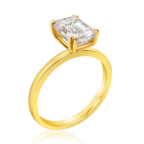 Emerald cut Moissanite Gold Ring 2cts
