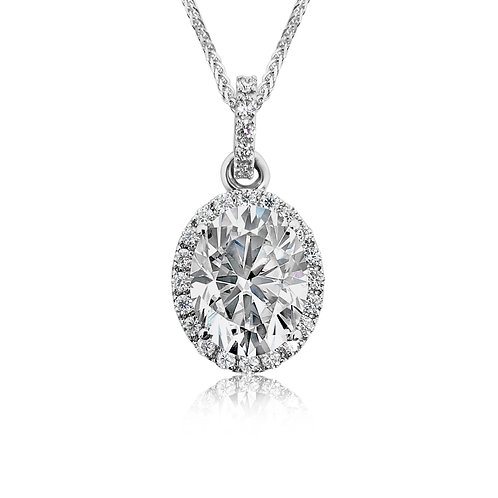 Oval Moissanite 18K Necklace 2.3ctw