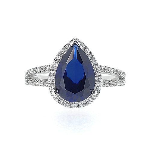 梨形培育藍寶石戒指(共2.8卡)