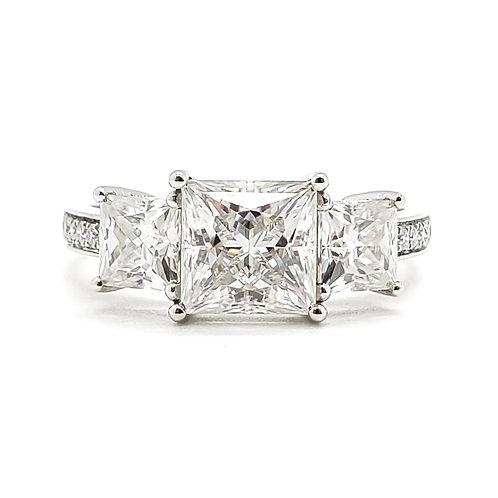 Princess cut Moissanite Ring 2.6ctw