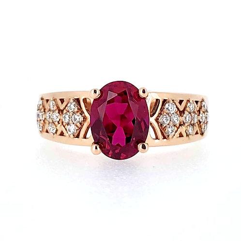 橢圓形培育紅寶石戒指(共3.3卡)