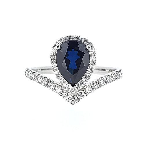 梨形培育藍寶石18K戒指(共1.7卡)
