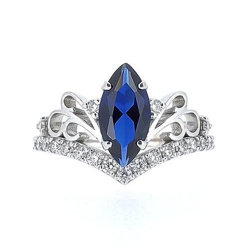 馬眼形培育藍寶石戒指(共1.4卡)