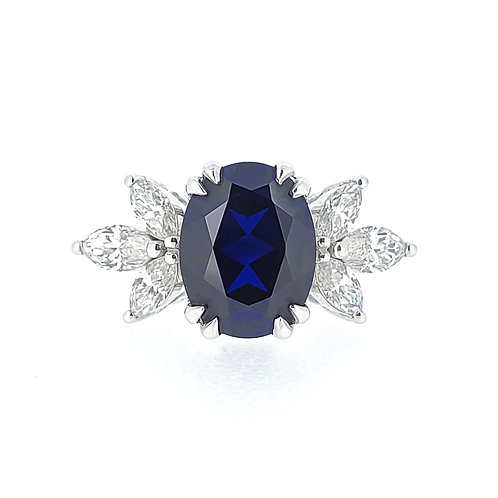 Oval Lab-grown Sapphire Ring 3ctw