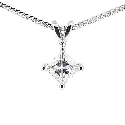 Princess cut Moissanite Necklace 0.8ct