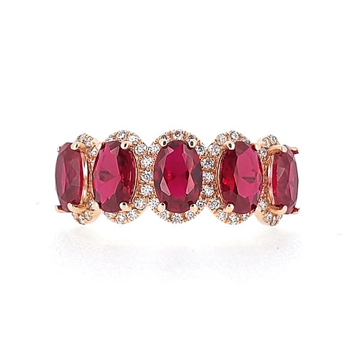 Oval lab-grown ruby ring 3.3ctw