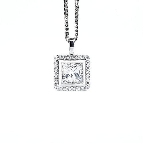 Princess cut Moissanite Necklace 0.8ctw