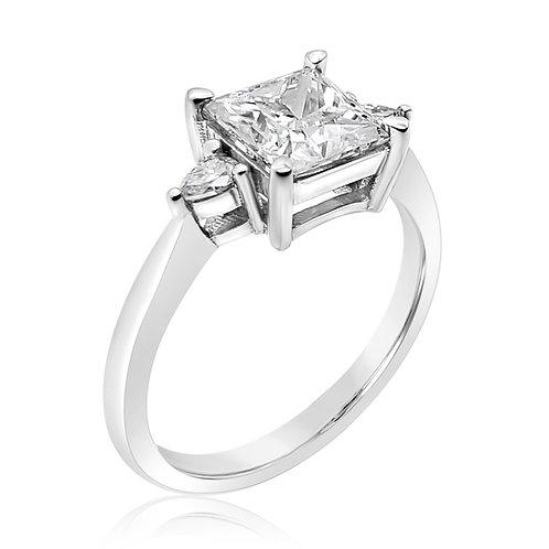 Princess cut Moissanite Ring 1.8ctw
