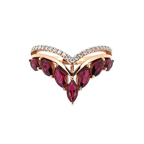 馬眼形培育紅寶石18K戒指(共1.4卡)