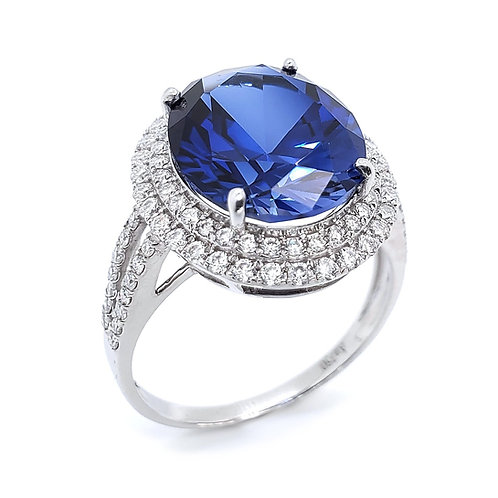 Oval lab-grown sapphire 18K ring 6.8ctw