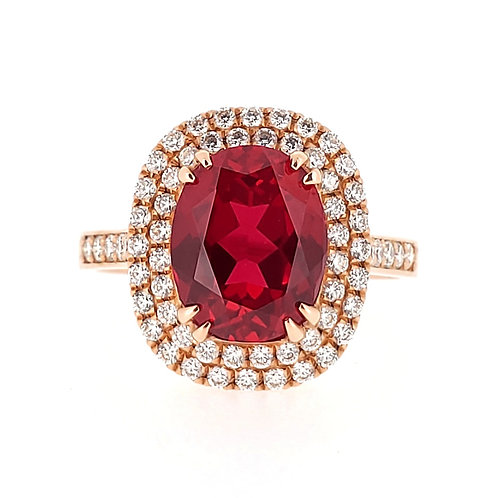 Oval-shaped Lab-grown ruby ring 3.3ctw