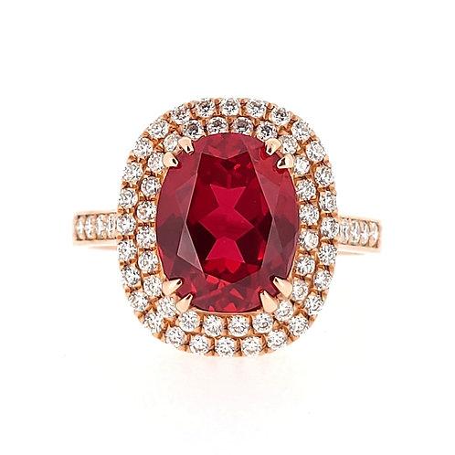 橢圓形培育紅寶石18K戒指(共3.3卡)