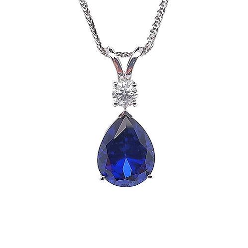 梨形培育藍寶石18K頸鏈(共2.4卡)