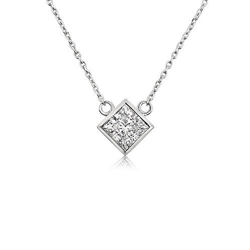 Princess cut Moissanite necklace 1ct