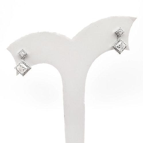 公主方形莫桑石18K耳環(共1.4卡)