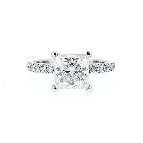 Princess cut Moissanite Ring 1.7ctw