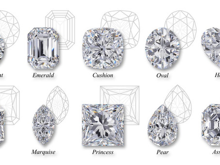 Different cuts of moissanite