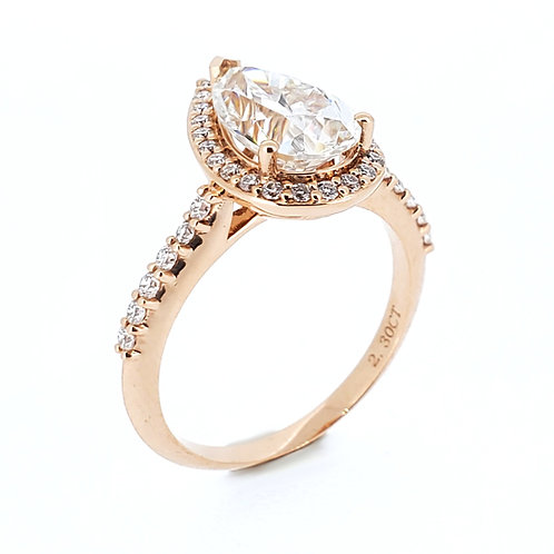 Pear-shaped moissanite rose gold ring 2.6ctw