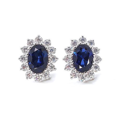 培育藍寶石18K耳環(共2.4卡)