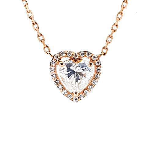 Heart-shaped Moissanite Necklace 0.6ctw