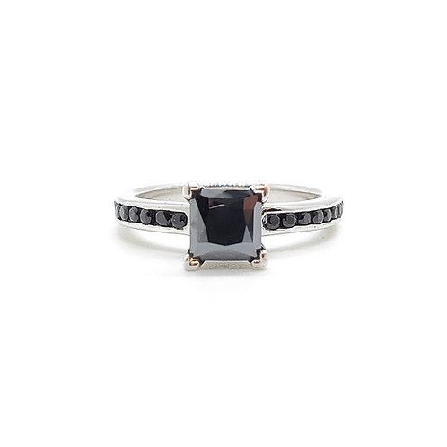 Princess Cut Black Moissanite Ring 1.2ctw