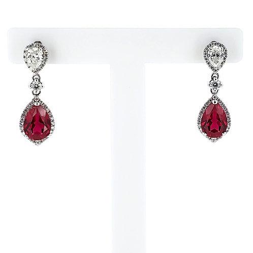 梨形培育紅寶石18K耳環(共2.4卡)