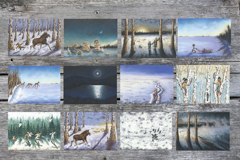 Here I cross, a winter series, 12 cards