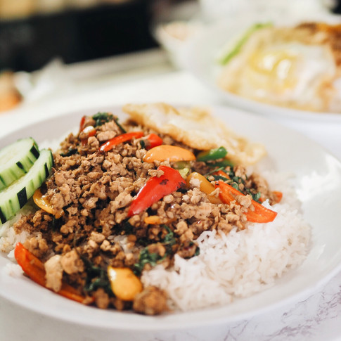 Pad Kra Praow over Rice