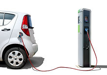Electric car on charging station  isolat
