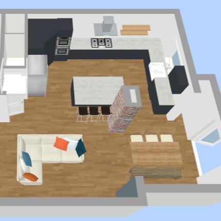 Kitchen/Living room 3D visualised design