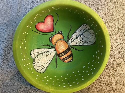 Anni & John Collab - Small Hand Painted wood HoneyBee Bowl