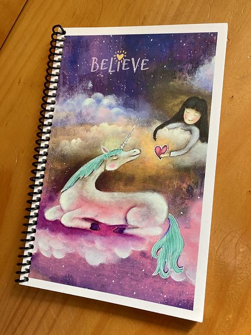 """Lined Unicorn Journal - """"Believe"""""""