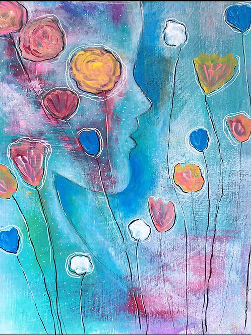 """She Speaks in Flowers"" 5x7 Greeting Card"